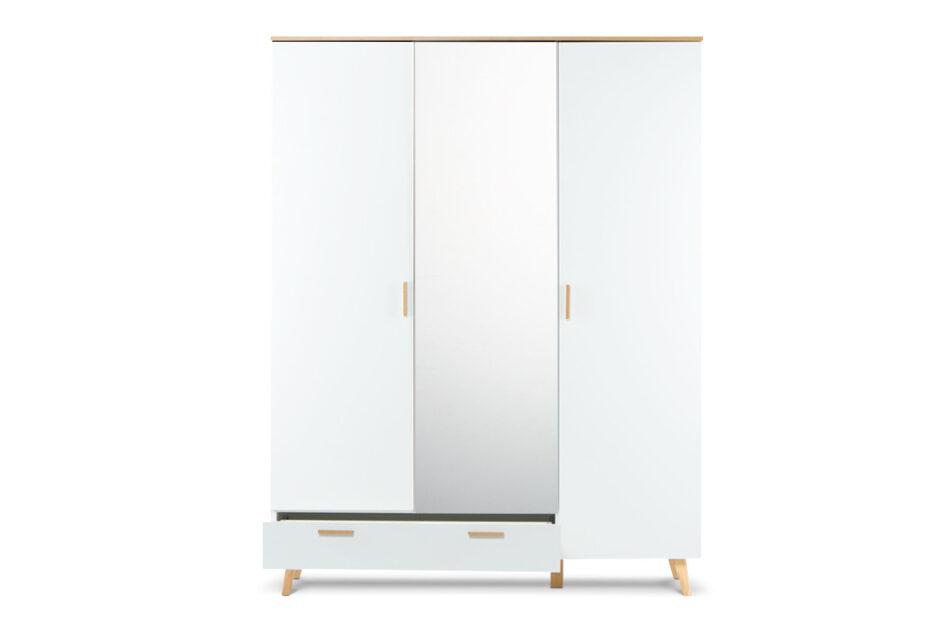 FRISK Biała szafa z lustrem w stylu skandynawskim biały/dąb naturalny - zdjęcie 8