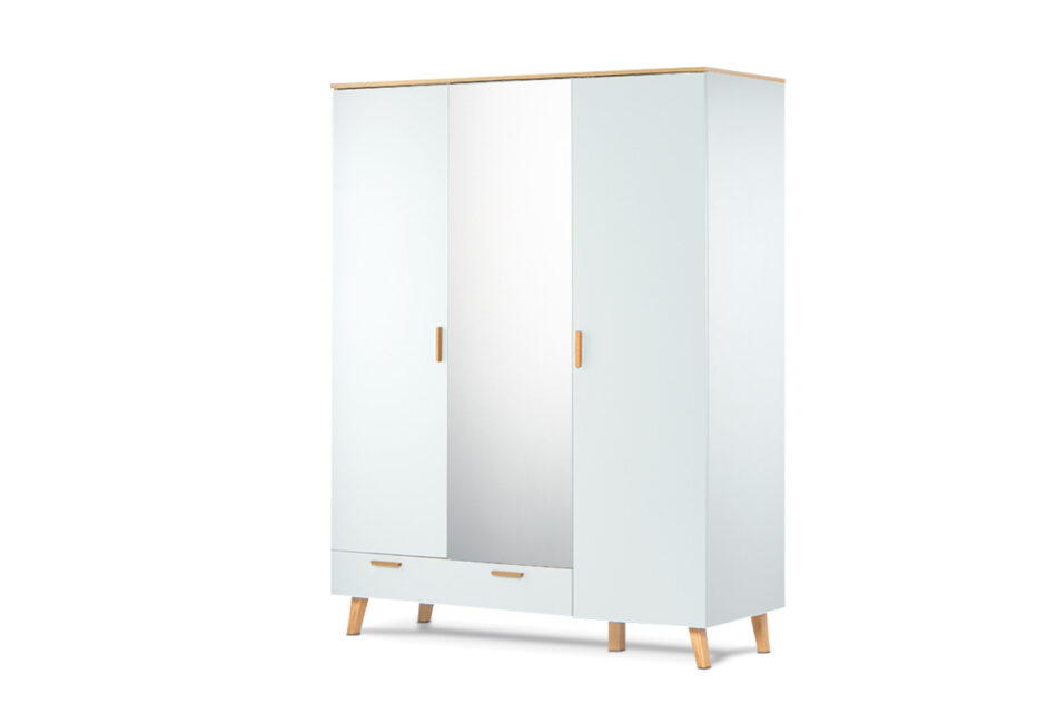 FRISK Biała szafa z lustrem w stylu skandynawskim biały/dąb naturalny - zdjęcie 2