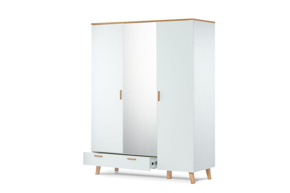 FRISK Biała szafa z lustrem w stylu skandynawskim biały/dąb naturalny - zdjęcie 7