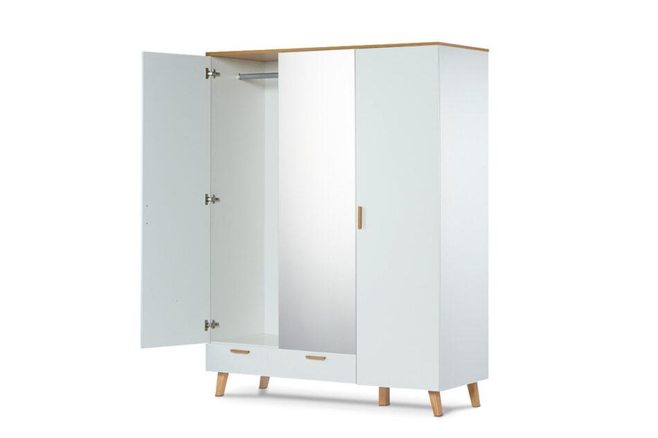 FRISK Biała szafa z lustrem w stylu skandynawskim biały/dąb naturalny - zdjęcie 6