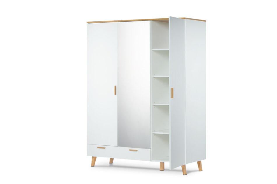 FRISK Biała szafa z lustrem w stylu skandynawskim biały/dąb naturalny - zdjęcie 5