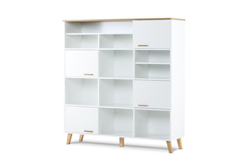 FRISK Biała meblościanka do salonu w stylu skandynawskim biały/dąb naturalny - zdjęcie 2