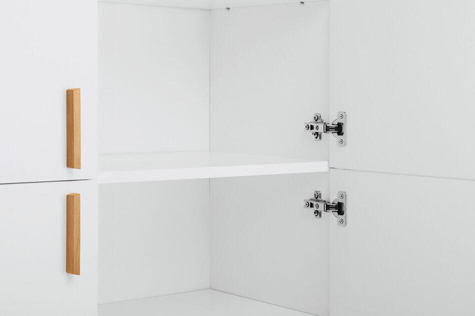 FRISK Biała komoda skandynawska do salonu biały/dąb naturalny - zdjęcie 3
