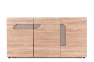 AVERO, https://konsimo.pl/kolekcja/avero/ Duża komoda z półkami 165 cm w stylu skandynawskim dąb szary dąb/szarobeżowy - zdjęcie