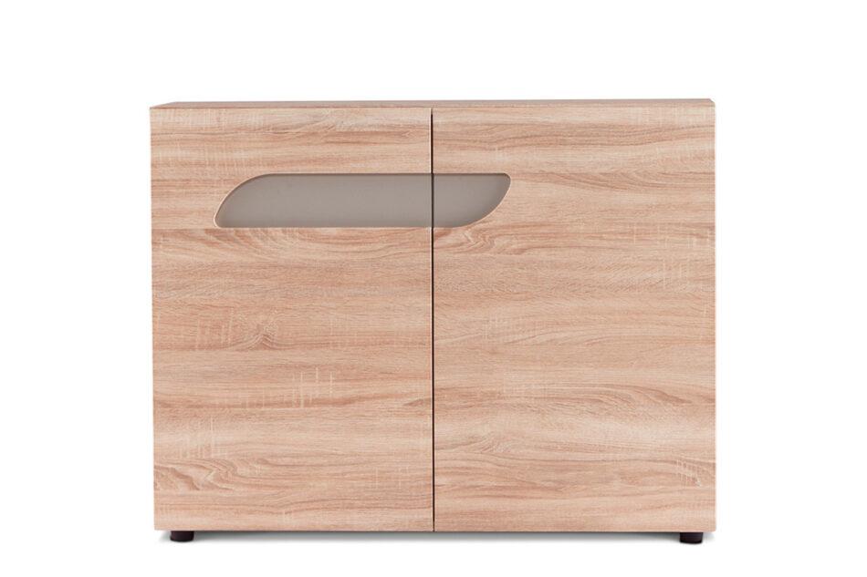 AVERO Komoda z półkami 110 cm w stylu skandynawskim dąb szary dąb/szarobeżowy - zdjęcie 0