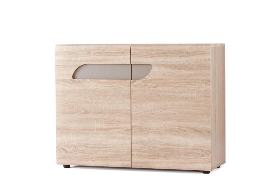 AVERO Komoda z półkami 110 cm w stylu skandynawskim dąb szary dąb/szarobeżowy - zdjęcie 2