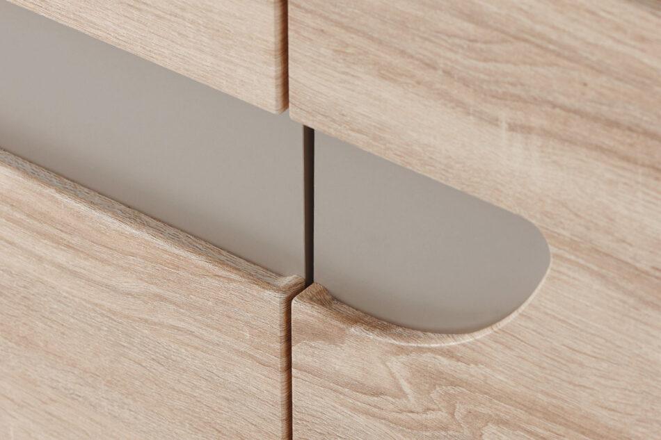AVERO Komoda z półkami 110 cm w stylu skandynawskim dąb szary dąb/szarobeżowy - zdjęcie 3