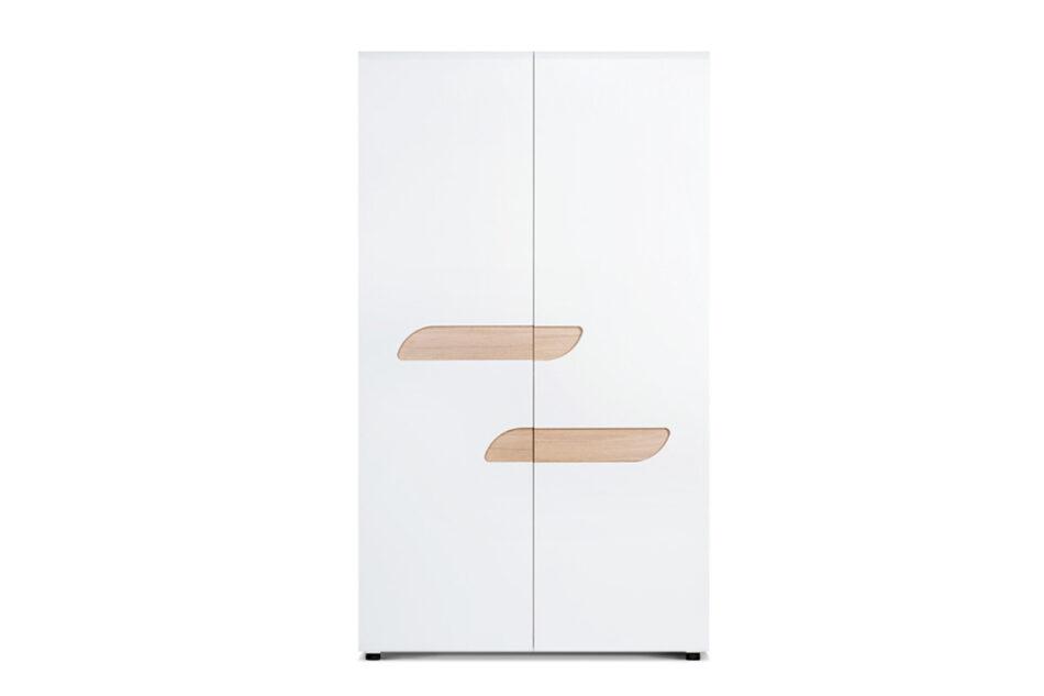 AVERO Szafa ubraniowa z półkami w stylu skandynawskim biała biały matowy/biały połysk/dąb - zdjęcie 0