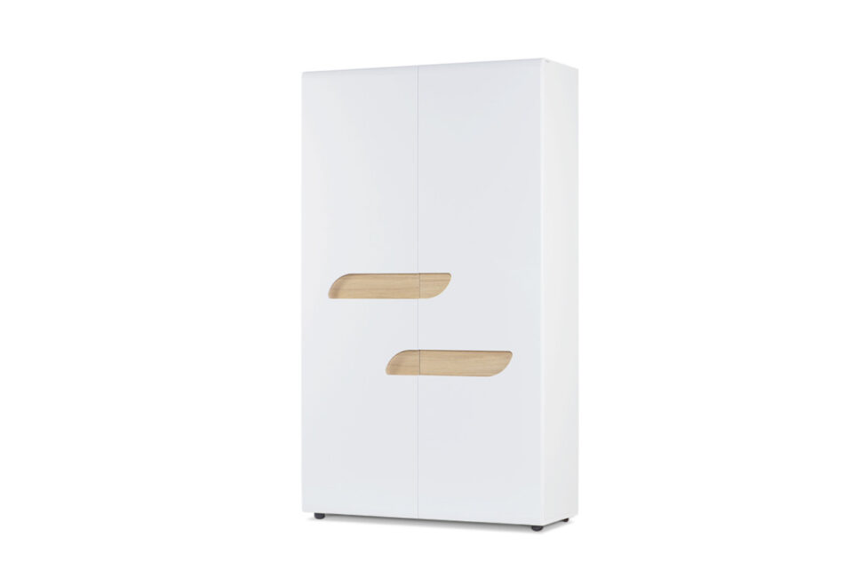 AVERO Szafa ubraniowa z półkami w stylu skandynawskim biała biały matowy/biały połysk/dąb - zdjęcie 2