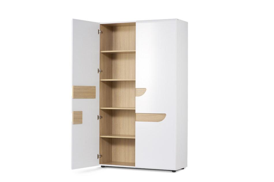 AVERO Szafa ubraniowa z półkami w stylu skandynawskim biała biały matowy/biały połysk/dąb - zdjęcie 3