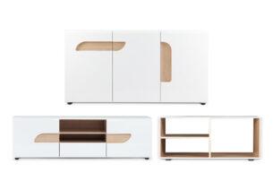 AVERO, https://konsimo.pl/kolekcja/avero/ Komplet mebli do salonu w stylu skandynawskim 3 elementy biały biały matowy/biały połysk/dąb - zdjęcie