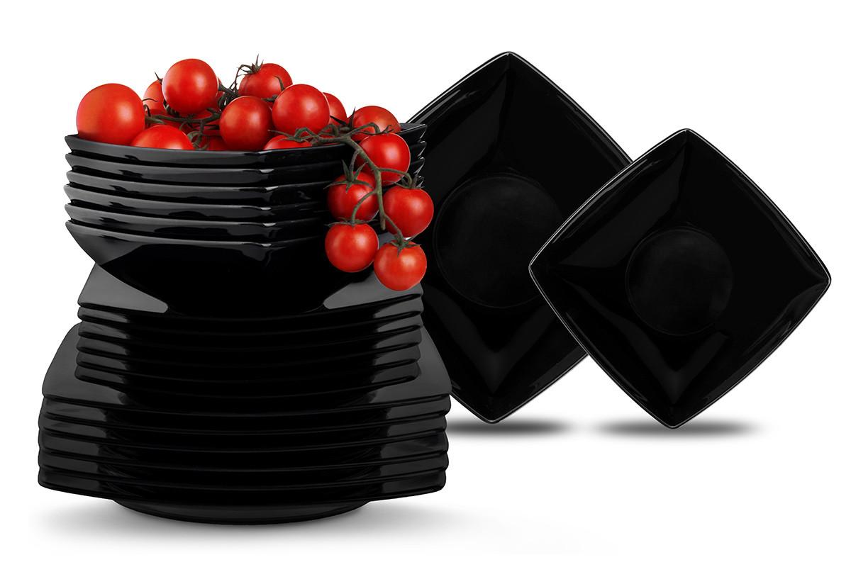 Serwis obiadowy kwadratowy 18 elementów czarny dla 6 osób