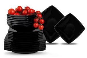 EPIRI, https://konsimo.pl/kolekcja/epiri/ Serwis obiadowy kwadratowy 36 elementów elementów czarny dla 12 osób  - zdjęcie