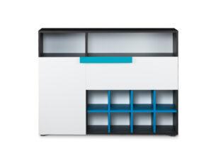 SHIBU, https://konsimo.pl/kolekcja/shibu/ Duża komoda dziecięca z półkami grafit/biały/niebieski - zdjęcie
