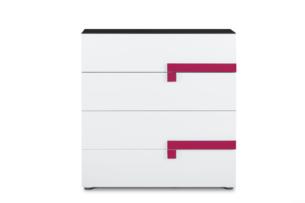 SHIBU, https://konsimo.pl/kolekcja/shibu/ Dziecięca komoda z szufladami grafit/biały/różowy - zdjęcie