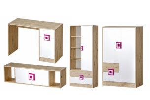 CAMBI, https://konsimo.pl/kolekcja/cambi/ Kolorowy zestaw mebli do pokoju dziecięcego 4 elementy biały / jasny dąb / różowy biały/jasny dąb/różowy - zdjęcie