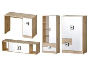 CAMBI, https://konsimo.pl/kolekcja/cambi/ Kolorowy zestaw mebli do pokoju dziecięcego 4 elementy biały / jasny dąb / szary biały/jasny dąb/szary - zdjęcie