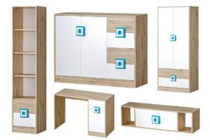 CAMBI, https://konsimo.pl/kolekcja/cambi/ Kolorowy zestaw mebli do pokoju dziecięcego 5 elementy biały / jasny dąb / turkus biały/jasny dąb/turkusowy - zdjęcie