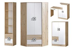 CAMBI, https://konsimo.pl/kolekcja/cambi/ Kolorowy zestaw mebli do pokoju dziecięcego 4 elementy szafa narożna biały / jasny dąb / szary biały/jasny dąb/szary - zdjęcie