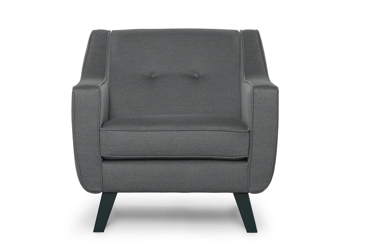 Skandynawski fotel tkanina plecionka szary