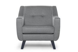 TERSO, https://konsimo.pl/kolekcja/terso/ Skandynawski fotel tkanina plecionka ciemnoszary szary - zdjęcie