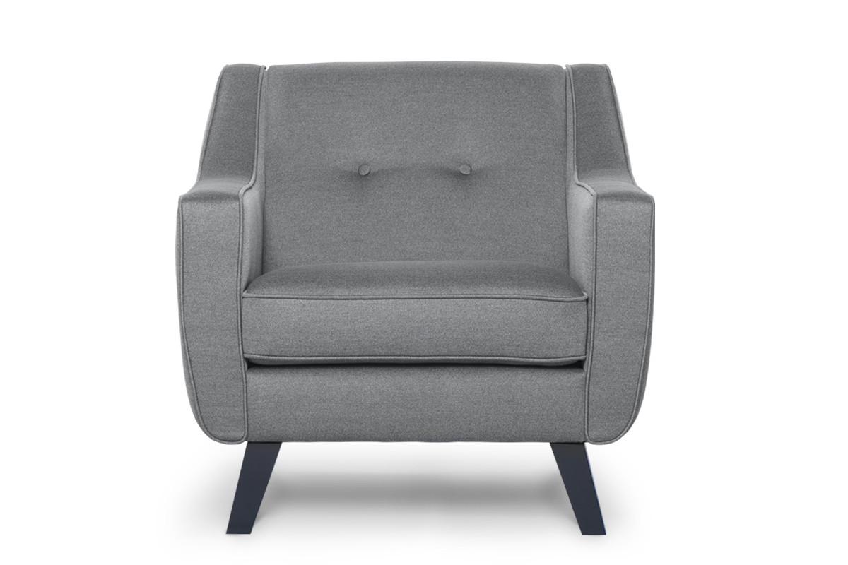 Skandynawski fotel tkanina plecionka ciemnoszary
