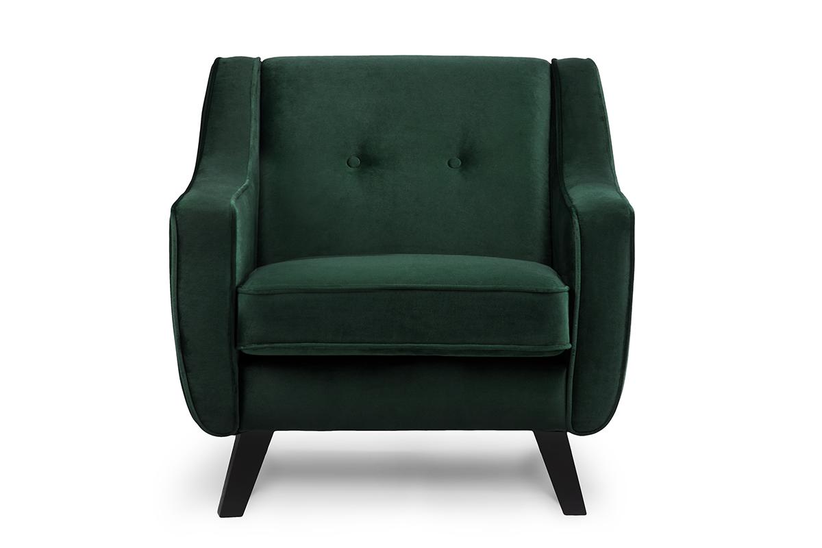 Skandynawski fotel welurowy butelkowa zieleń
