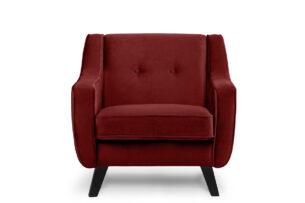 TERSO, https://konsimo.pl/kolekcja/terso/ Skandynawski fotel welurowy czerwony bordowy - zdjęcie