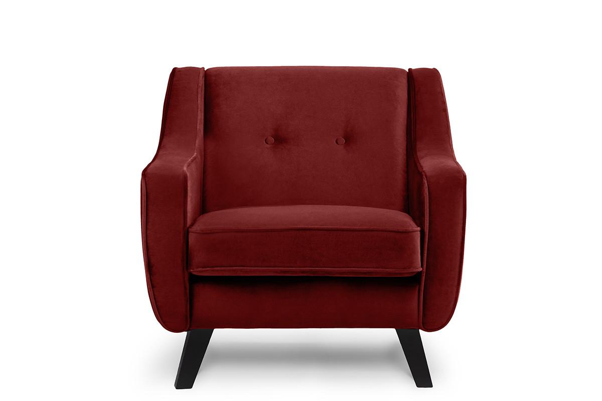 Skandynawski fotel welurowy czerwony