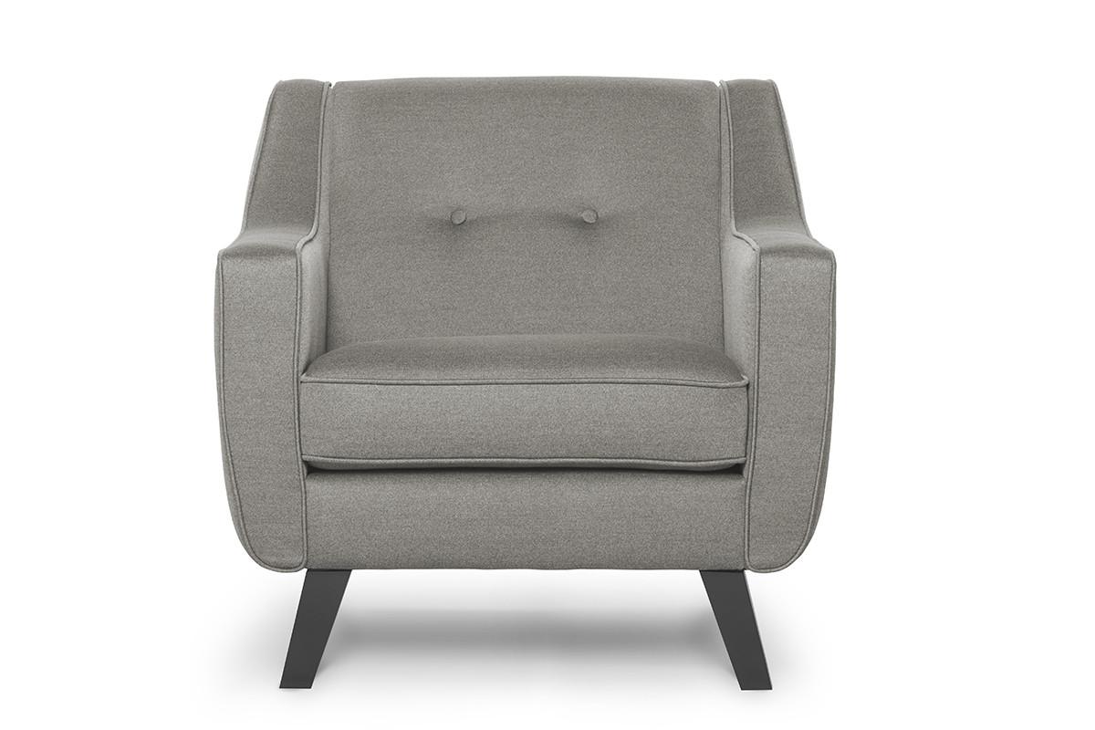 Skandynawski fotel tkanina plecionka beżowy