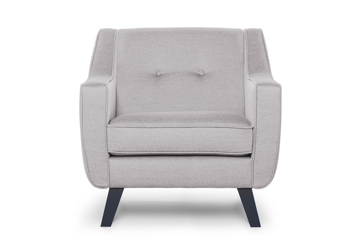 Skandynawski fotel tkanina plecionka platyna