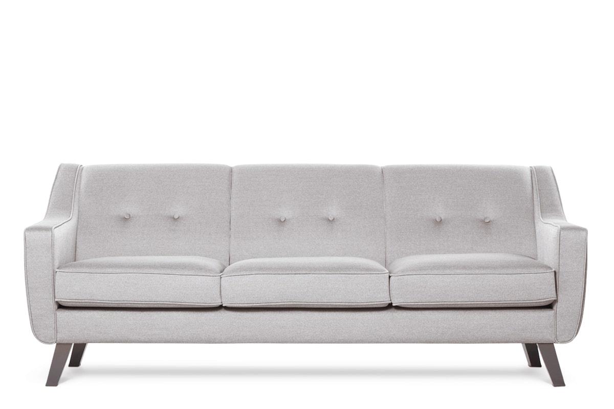 Skandynawska sofa 3 osobowa tkanina plecionka platyna