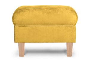MILES, https://konsimo.pl/kolekcja/miles/ Podnóżek żółty welur drewniane nóżki żółty/buk - zdjęcie