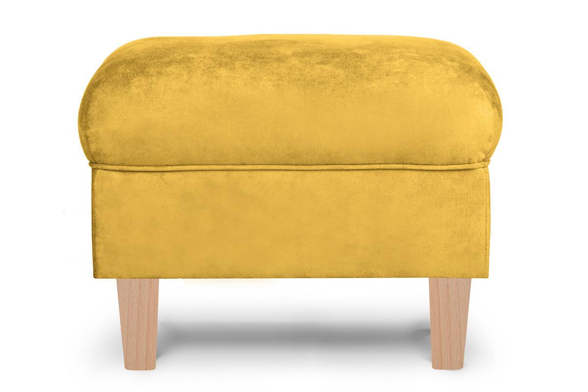 Podnóżek żółty welur drewniane nóżki