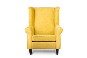 MILES, https://konsimo.pl/kolekcja/miles/ Fotel uszak welur żółty czarne nóżki żółty - zdjęcie