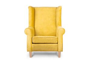 MILES, https://konsimo.pl/kolekcja/miles/ Fotel uszak welur żółty drewniane nóżki żółty/buk - zdjęcie