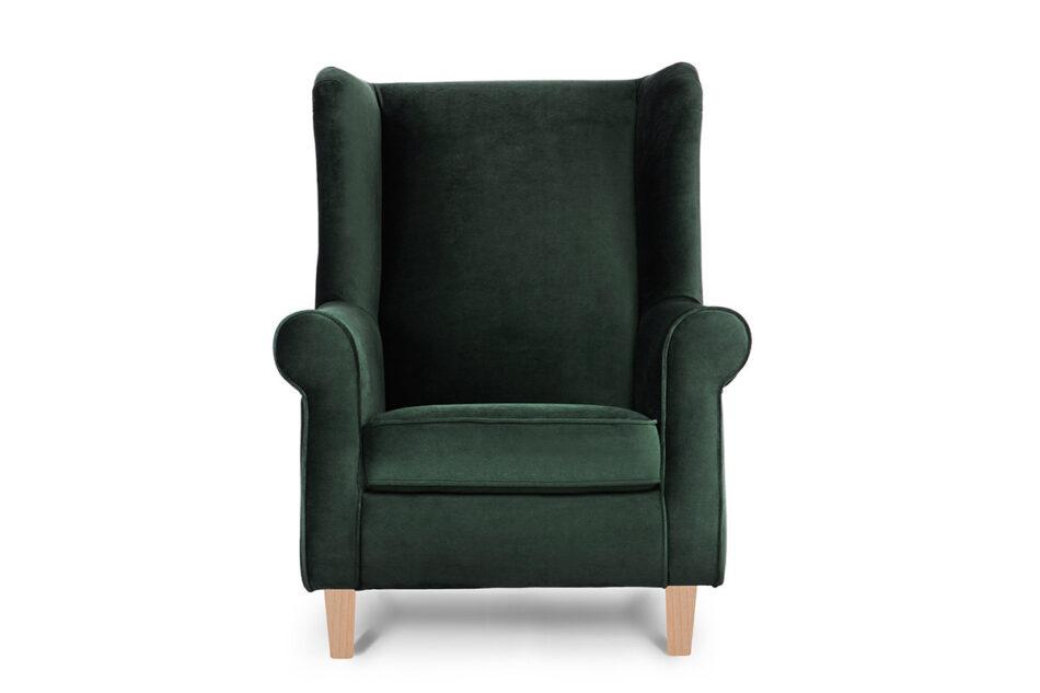 MILES Fotel uszak butelkowa zieleń welur drewniane nóżki zielony/buk - zdjęcie 0
