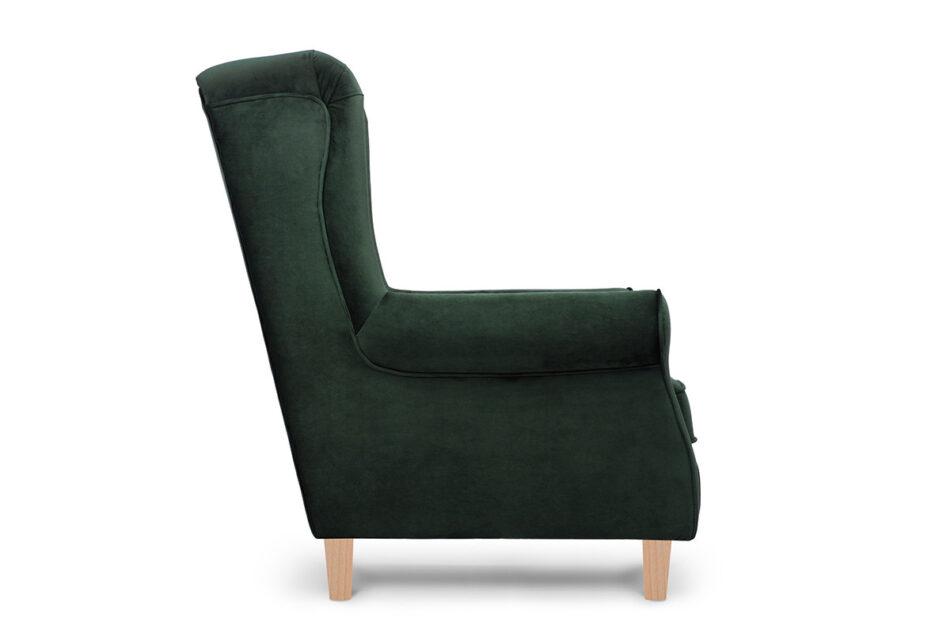 MILES Fotel uszak butelkowa zieleń welur drewniane nóżki zielony/buk - zdjęcie 2