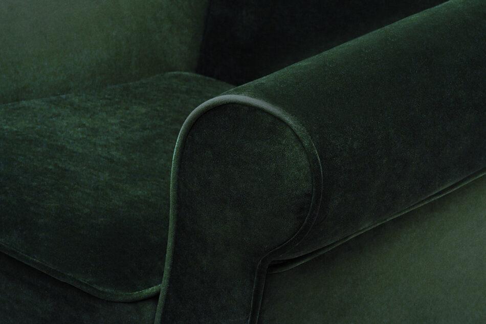 MILES Fotel uszak butelkowa zieleń welur drewniane nóżki zielony/buk - zdjęcie 4