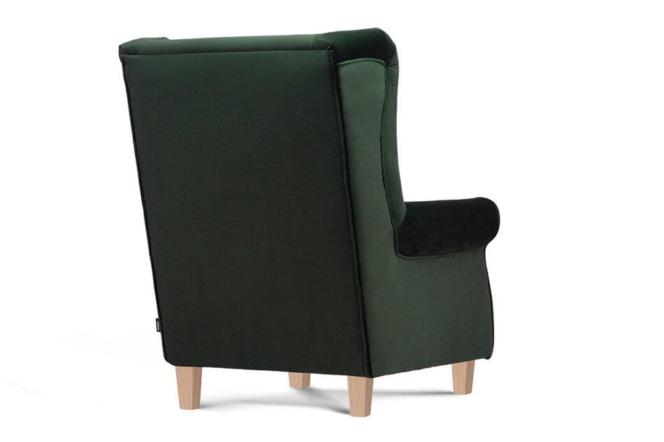MILES Fotel uszak butelkowa zieleń welur drewniane nóżki zielony/buk - zdjęcie 3