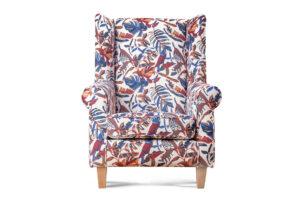 MILES, https://konsimo.pl/kolekcja/miles/ Fotel uszak w kwiaty drewniane nóżki biały/wielokolorowy/buk - zdjęcie