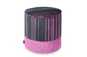 NELIA, https://konsimo.pl/kolekcja/nelia/ Pufa dla dziewczynki w paski różowa czarny/różowy - zdjęcie
