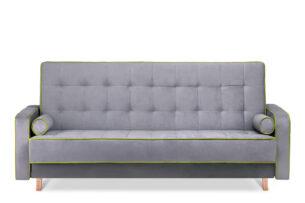 DOZER, https://konsimo.pl/kolekcja/dozer/ Kolorowa sofa 3 osobowa z funkcją spania szary/zielony - zdjęcie