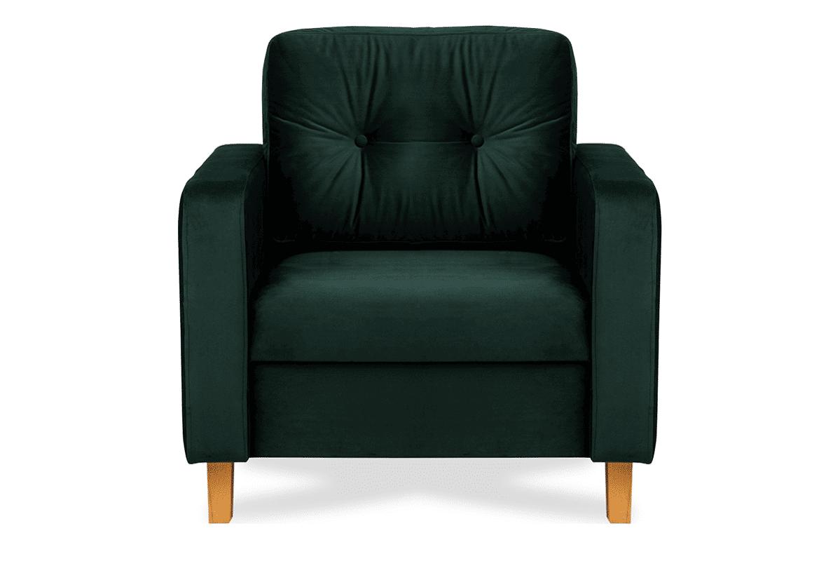 Welurowy fotel butelkowa zieleń do salonu