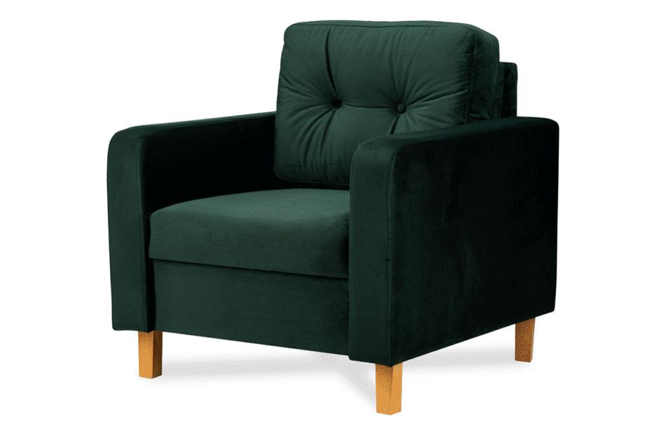ERISO Welurowy fotel butelkowa zieleń do salonu ciemny zielony - zdjęcie 1