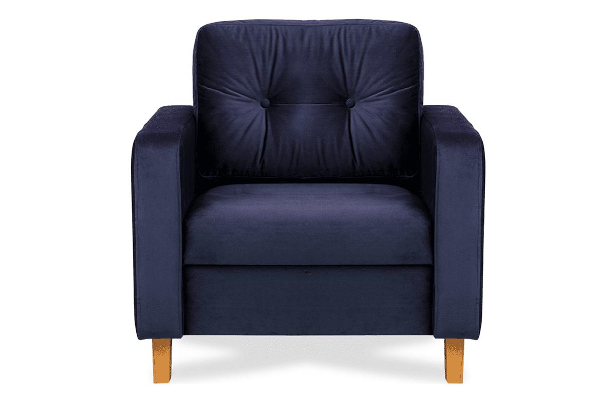 Granatowy welurowy fotel do salonu