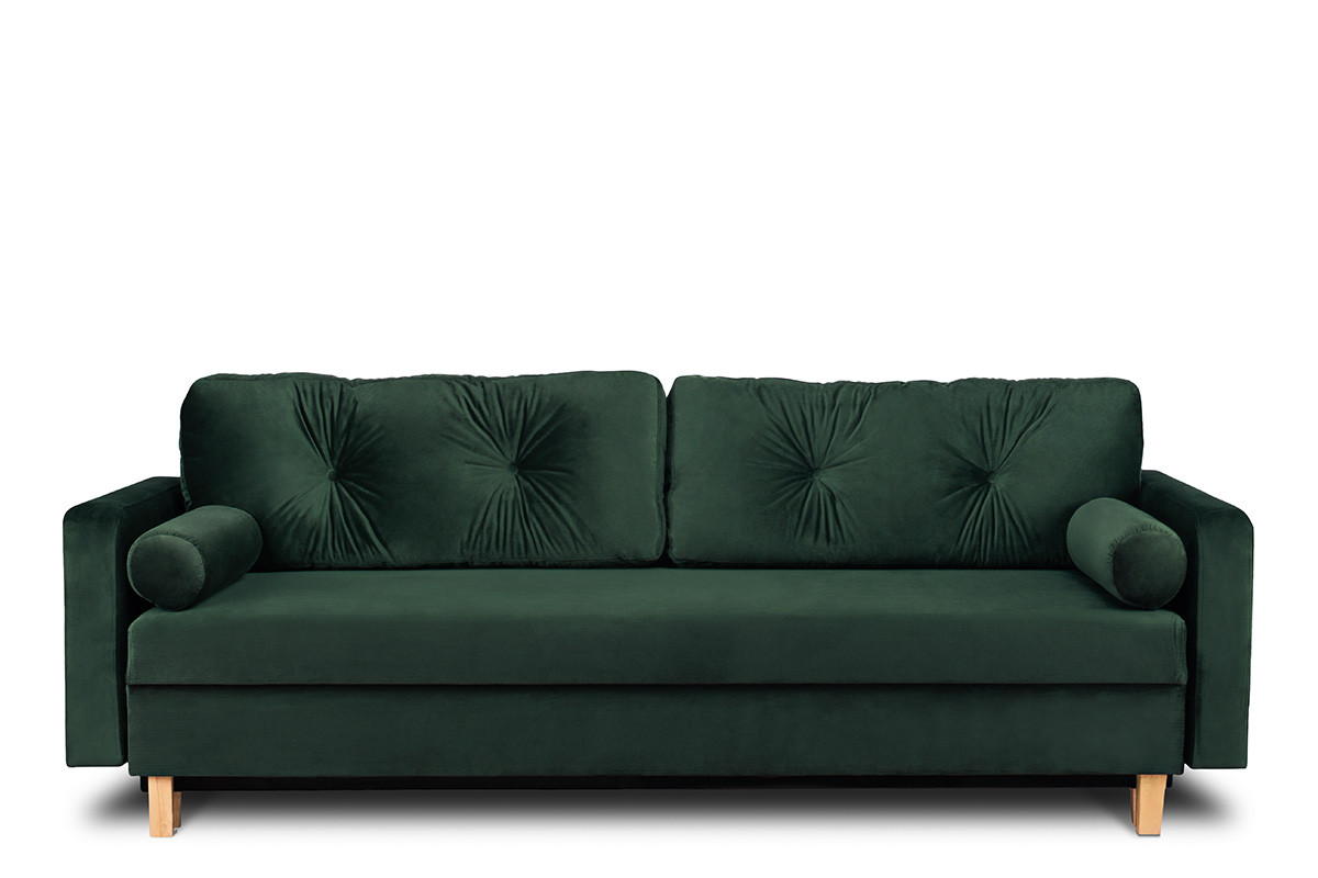 Sofa 3 osobowa rozkładana welur butelkowa zieleń