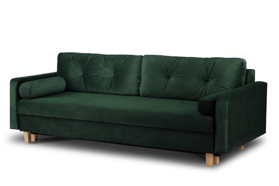 ERISO Sofa 3 osobowa rozkładana welur butelkowa zieleń ciemny zielony - zdjęcie 2