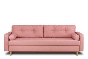 ERISO, https://konsimo.pl/kolekcja/eriso/ Różowa sofa 3 osobowa rozkładana koralowy - zdjęcie