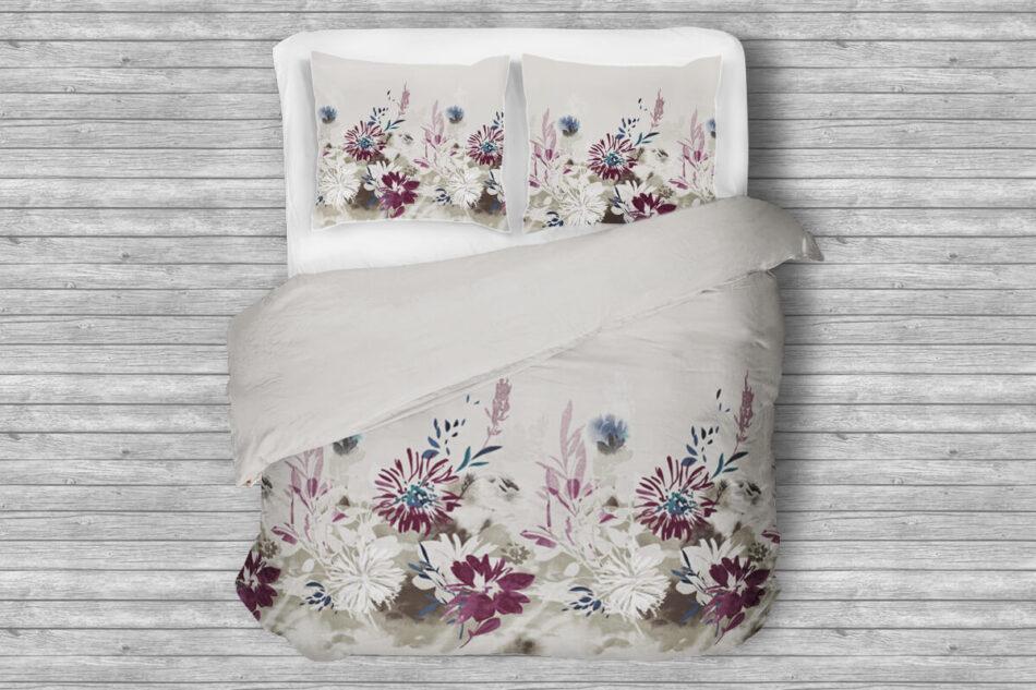 LANIUS Komplet pościeli z bawełny satynowej biały/szary/fioletowy - zdjęcie 0
